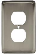 Duplex Wall Plate, 1-Gang, Stamped, Round, Satin Nickel Steel