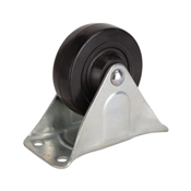 Prosource JC-H04 Rigid Caster, 4 in Dia x 1-1/4 in W Wheel, 255 lb Weight Capacity, Rubber Wheel