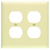 Ivory Nylon 2 Gang Receptacle Plate