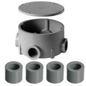 "1/2"" & 3/4"" Non-Metallic Round Junction Box with Reducer"