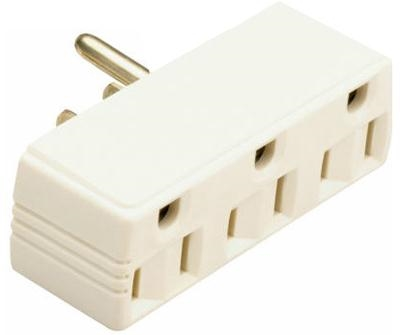 White 15 Amp 125 Volt Triple Outlet Adapter