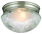 2 Light Satin Nickel Mushroom Indoor Ceiling Fixture