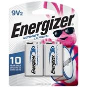 Energizer L522BP2 9V Batteries, 2 Pack