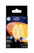 Decorative LED Light Bulbs, Candelabra-Base, Soft White, Clear, Dimmable, 300 Lumens, 3.5-Watts, 2-Pk.