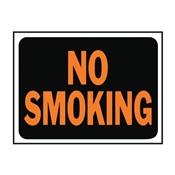 """NO SMOKING"" ORANGE/BLACK PLASTIC SIGN 9""X12"""