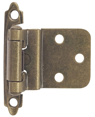 "3/8"" Offset Self-Closing Cabinet Hinge - Antique Brass"