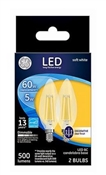 Decorative LED Light Bulbs, Soft White, Clear, 500 Lumens, 5-Watts, 2-Pk.