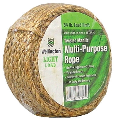 "1/4"" x 50' Natural Fiber Twisted Manila Rope"
