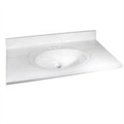 "37"" x 22"" Cultured Marble 1 Bowl Vanity Top - White On White"