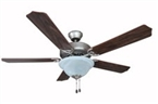 "52"" Dover Tri-Mount Motor Ceiling Fan Satin Nickel with Light Kit"