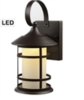 Exterior LED Lantern, Frosted Glass, Bronze Finish