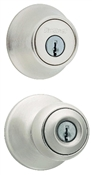 Polo Entry Lockset With Deadbolt, Satin Nickel