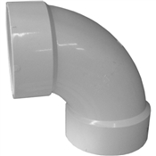 """4"""" PVC-DWV 90 Sanitary Elbow (Hub x Hub)"""