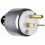 White 20 Amp 250 Volt 3 Wire Armoured Plug