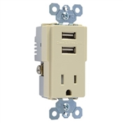 Pass & Seymour TM8USBICC6 USB Charger with Receptacle, 125 V, 14 to 10 AWG, Back, Side Wiring