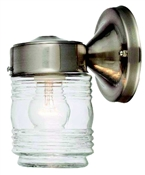 Jelly Jar Outdoor Wall Fixture, Satin Nickel
