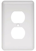 Duplex Wall Plate, 1-Gang, Stamped, Round, White Steel