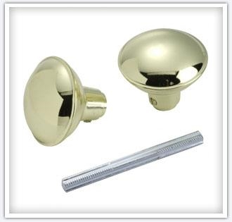 Brass Plated Steel Knob & Spindle Set 2 Pack