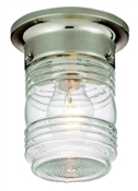 Jelly Jar Outdoor Ceiling Fixture, Satin Nickel