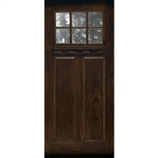 3068 LH Prefinished Fiberglass 2 Panel Craftsman 6Lite, Oil Rub-Bronze Hinges