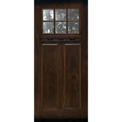 3068 RH Prefinished Fiberglass 2 Panel Craftsman 6Lite, Oil Rub-Bronze Hinges