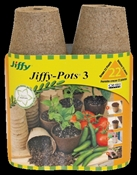 Jiffy JP322 Peat Pot, 6.62 in L Tray, 3.37 in W Tray, 8-3/4 in H Tray, Peat Moss