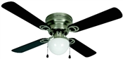 "Aegean 42"" Flush Mount Ceiling Fan - Satin Nickel With Light Kit"