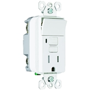 White 15 Amp 125 Volt GFCI Decorator Receptacle with Single Pole Switch