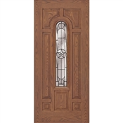 3068 Inswing Prefinished Fiberglass Center Arch Lone Star Door, Medium Oak, Right Hand