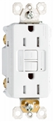 15A, White, 2 pole, 3 wire, grounding, , self testing GFCI outlet, tamper resistant, with LED night light, UL listed