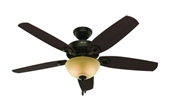 Ceiling Fan, 120 V, 64 W, 3-Speed, 5-Blade, Fiberboard, 52 In