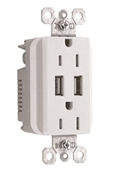 USB Charger, 2-Outlet, 15A, White