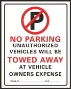 HY-KO 702 Parking Sign, Rectangular, Black/Red Legend, White Background