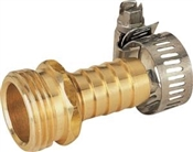"5/8""-3/4"" Male Brass Coupling with Clamps"
