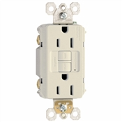 15A, Almond, 2 pole, 3 wire, grounding, self testing GFCI outlet with matching wall plate, UL listed