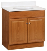 "Richmond 30"" Raised Panel Combo Vanity With Cultured Marble Top, Oak"