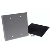 Two Gang Blank Receptacle Cover - Gray