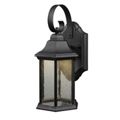 Exterior LED Wall Lantern,Seedy Glass Globe, Black Finish