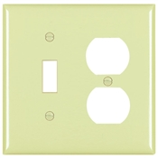 Ivory Nylon 2 Gang Toggle/Receptacle Plate