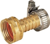 "5/8""-3/4"" Female Brass Coupling with Clamps"