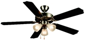 "Palladuim 52"" Tri-Mount Ceiling Fan - Brushed Nickel With Light Kit"