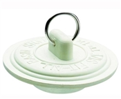 Drain Stopper, Rubber, White, For 1-5/8 to 1-3/4 in Sink