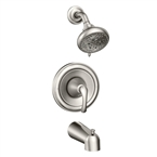 Tiffin Single Handle Tub & Shower Faucet Unit, Brushed Nickel