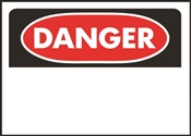 HY-KO 523 Danger Sign, Rectangular, White Background