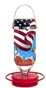 American Made Hummingbird Glass Feeder 32oz  American Flag Design
