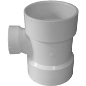 "3""x3""x1-1/2"" PVC-DWV Reducing Sanitary Tee (HxHxH)"