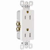 White 15 Amp 125 Volt Decorator Receptacle