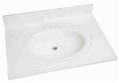 "31"" x 22"" Cultured Marble 1 Bowl Vanity Top - White On White"
