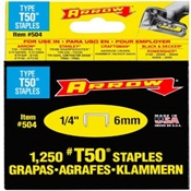 "1/4"" Heavy Duty Narrow Crown T50 Staples - 1,250 Pack"