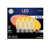 Decorative LED Light Bulbs, 300 Lumens, 3.5-Watts, 4-Pk.